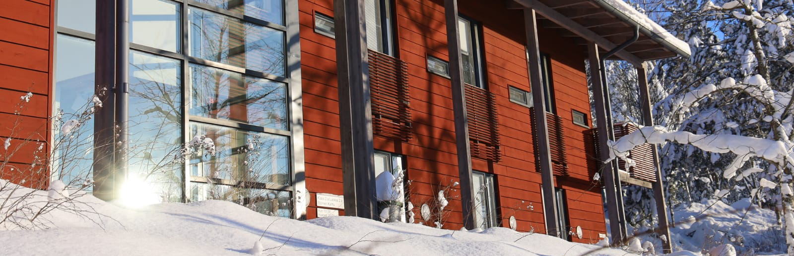 Haltia Lake Lodge hotel building.