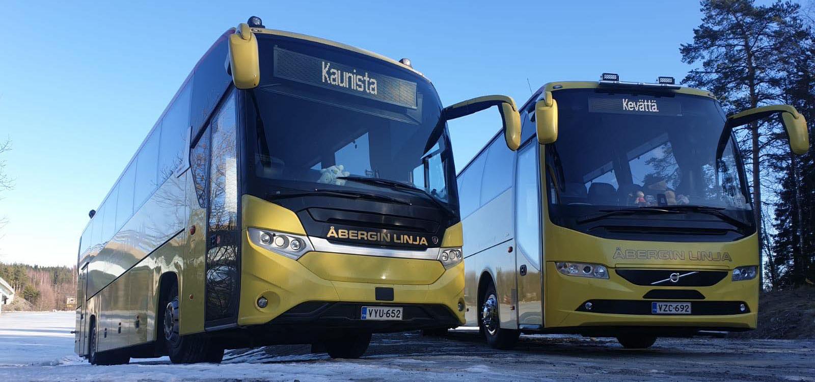 Åbergin Linjan kaksi keltaista tilausajobussia.