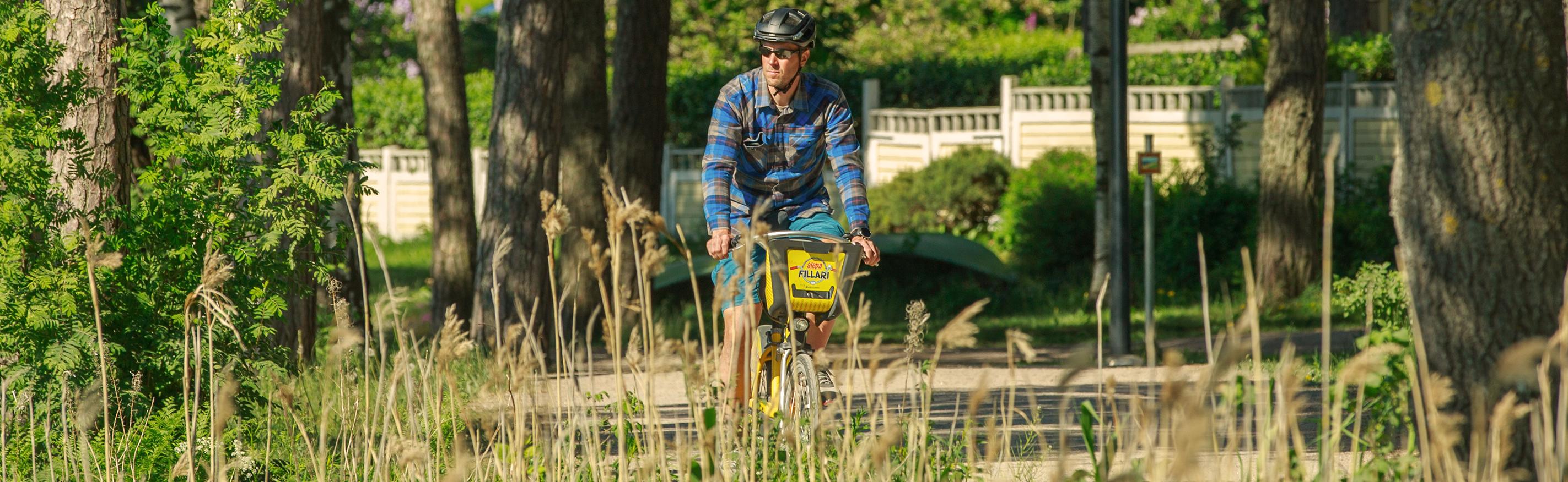 Mies pyöräilee kaupunkipyörällä kesäisellä, heinikoiden reunustamalla Espoon Rantaraitilla.