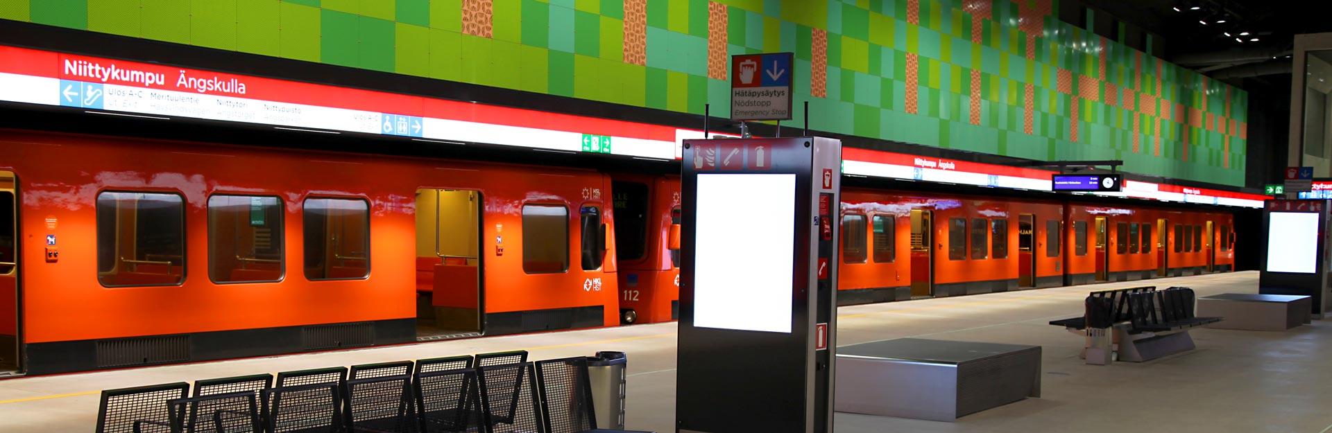 A metro at Niittykumpu metro station.