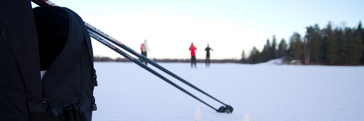 Skidåkare på isen.