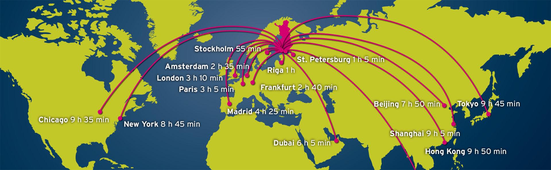 Piirretty maailman kartta, jossa näkyy lentoreittejä Suomeen.